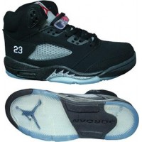 Air Jordan 5 Retro Black Metallic Silver Red