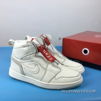 Air Jordan 1 White Red Full Grain Leather 1 Retro High Zip Awok Vogue BQ0864-106 Outlet