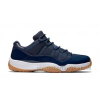 "Authentic 528895-405 Air Jordan 11 Retro Low ""Navy/Gum"" Midnight Navy/White Authentic"