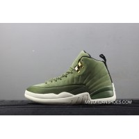 Air Jordan 12 AJ12 CP3 Paul Olive Green Gold Buckle Suede Carbon At 130690-301 New Year Deals