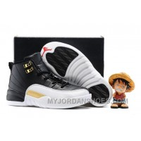 Kids Air Jordan 12 White Black Gold Red WHESa