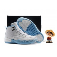 Kids Air Jordan 12 White Light Blue Silvery 67Cmk