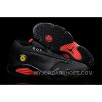 Air Jordan 14 Retro Low Black Leather/Gym Red For Sale ZR4ji