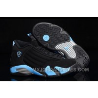 Air Jordan 14 Retro Black/University Blue-Metallic Silver Mens For Sale MmzJ6