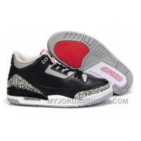 Air Jordan 3 Black Grey Cement Wool Shoes Men TJAZn