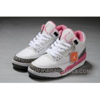 Authentic Air Jordan 3 White Pink Girls Size Christmas Deals