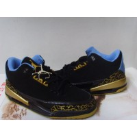 Air Jordan 3 Retro Black Gold Blue