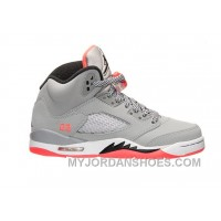 Authentic 440892-018 Air Jordan 5 Retro Girls Wolf Grey/Black-Hot Lava-White ZZwCr