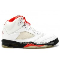 136027-100 Air Jordan 5 Retro Fire Red White Black (Women Men) 7SDCy