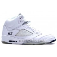 136045-101 Air Jordan 5 (V) Retro White Metallic Silver Black A05006 AwQxC