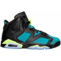 543390-043 Air Jordan 6 Retro Black/Volt Ice-Turbo Green-Black Women's Shoes
