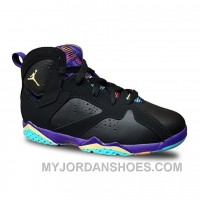Authentic 705417-029 Air Jordan 7 Retro Girls Black/Bright Citrus-Court Purple-Light Fic2f