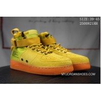 Nike SF AF1 Full-palm Cushion Nike Men Mid Top Air Force 1 Casual Shoes 917753 Suede Yellow Outlet
