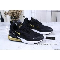 Nike Jacquard Air Max 270 Flyknit Half-palm Cushion Black Gold New Style