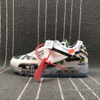 THE 10 Nike Air Max 90 X Off-White Collaboration Half-palm Cushion Running Shoes AA7293-101 Size Top Deals