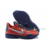 "Cheap Nike Kobe 10 ""Findlay Prep"" PE Red Navy Silver For Sale"