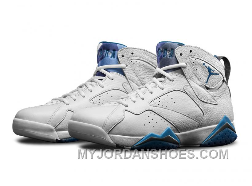 Authentic 304775-107 Air Jordan 7 Retro White/French Blue-University Blue-Flint Grey RkiH3